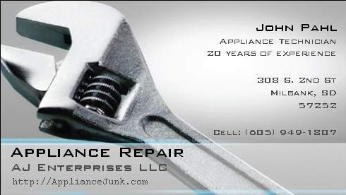 Card appliances images for Appliance repair business cards