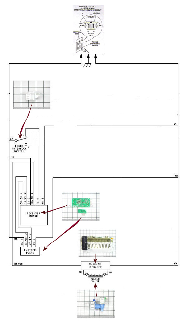 ge model wiring diagram ge icemaker wiring diagram appliancejunk.com - whirlpool in door ice maker wiring ...