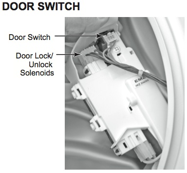 Testing Whirlpool Duet Door Lock Latch Hook Switch Assembly